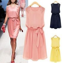 New Women Chiffon Bridesmaid Cocktail Evening Party Prom Short Mini Summer Dress