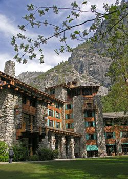 The Ahwahnee Hotel in Yosemite. What looks like wood on the outside is actually concrete. Previous hotels in Yosemite had burned down, so they used concrete to prevent that.