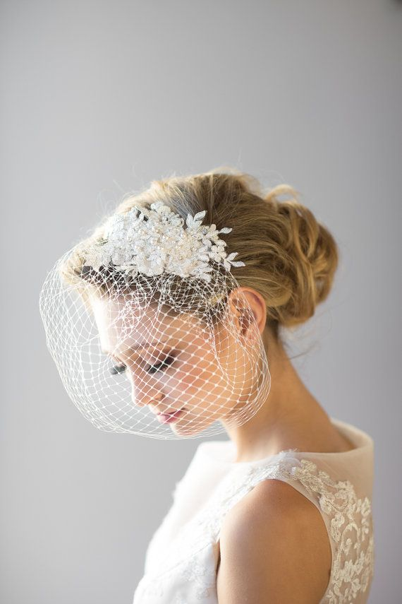 Birdcage Veil 9 Inch Birdcage Veil Wedding by PowderBlueBijoux