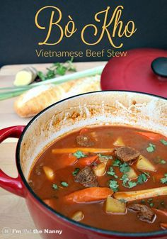 Vietnamese Beef Stew Bò Kho recipe is cooked slow for a hearty, flavorful meal. It's my favorite Vietnamese comfort food and perfect for fall. Full recipe at I'm Not the Nanny #SundaySupper