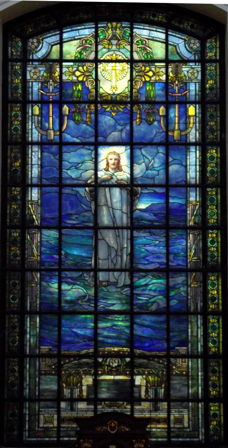 """""""Jesus Walking On The Water"""", stained glass window located in the main chapel, at USNA, in Annapolis Md. Created by: Frederick Wilson, a stained glass window designer, for Tiffany Studios. ~ Known as the, """"Porter Window"""" - a memorial window to Admiral David Dixon Porter, an American Civil War hero, who was appointed superintendent of USNA, in c.1865. ~ {cwl} ~ (Image via: USNA)"""