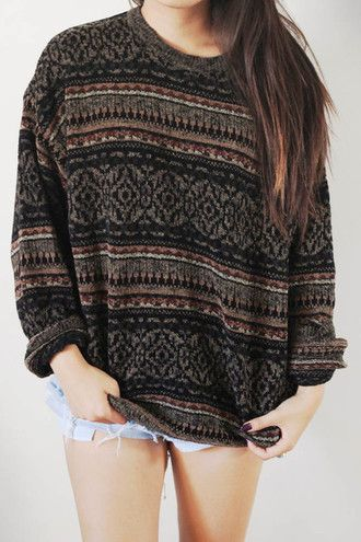 sweater aztec jumper clothes sweatshirt knit winter sweater knitted sweater fall outfits oversized sweater hoodie vintage pullover vintage pullover vintage sweater shirt this please cardigan brown top baggy ugly tumblr sweater hipster sweater