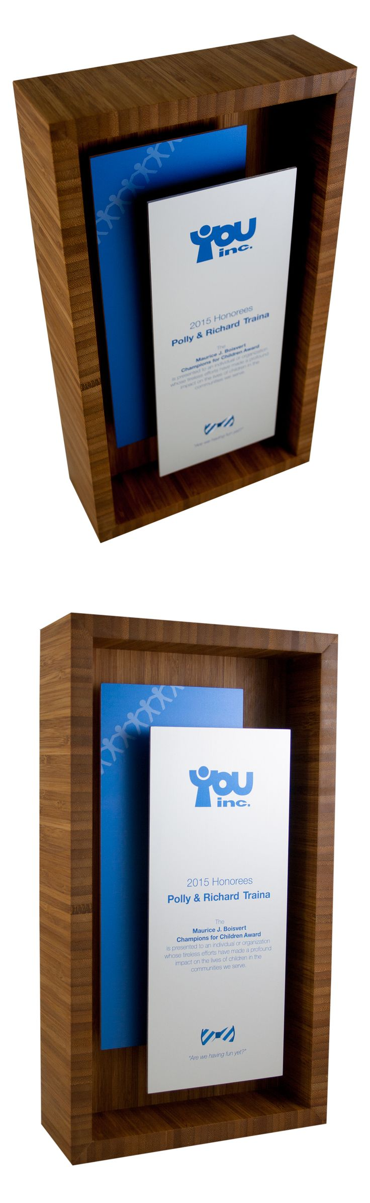 Custom bamboo shadow box plaque. Creative, unique and modern plaque for corporate recognition.
