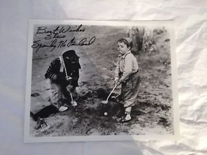 Little-Rascals-Sparky-McFarland-Autograph-8x10-B-W-Photo-Golfing-with-Chimp