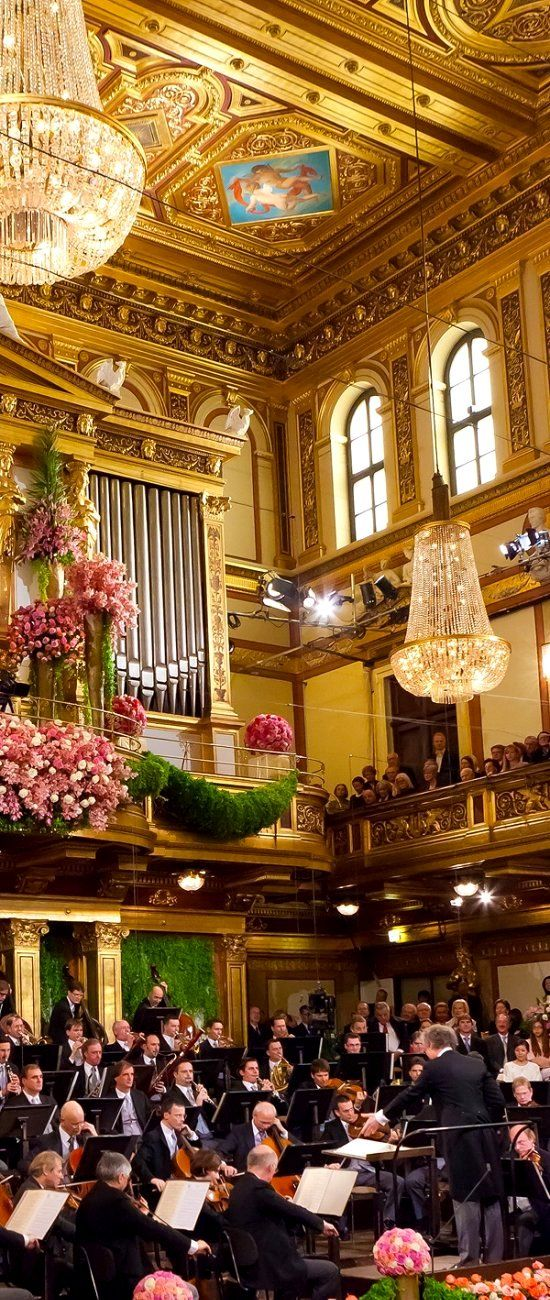 Vienna Philharmonic Orchestra, Austria.  Oh yes, this is where I want to be on New Year's Eve. That would be a dream come true! The Vienna Philharmonic, founded in 1842, is an orchestra, regularly considered one of the finest in the world. The Vienna Philharmonic is based in the Musikverein in Vienna. Its members are selected from the orchestra of the Vienna State Opera.