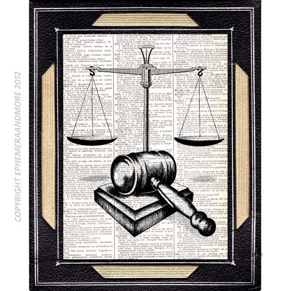 SCALE Of JUSTICE And GAVEL Art Print On Dictionary Book Page Art Print  Dictionary Print Vintage