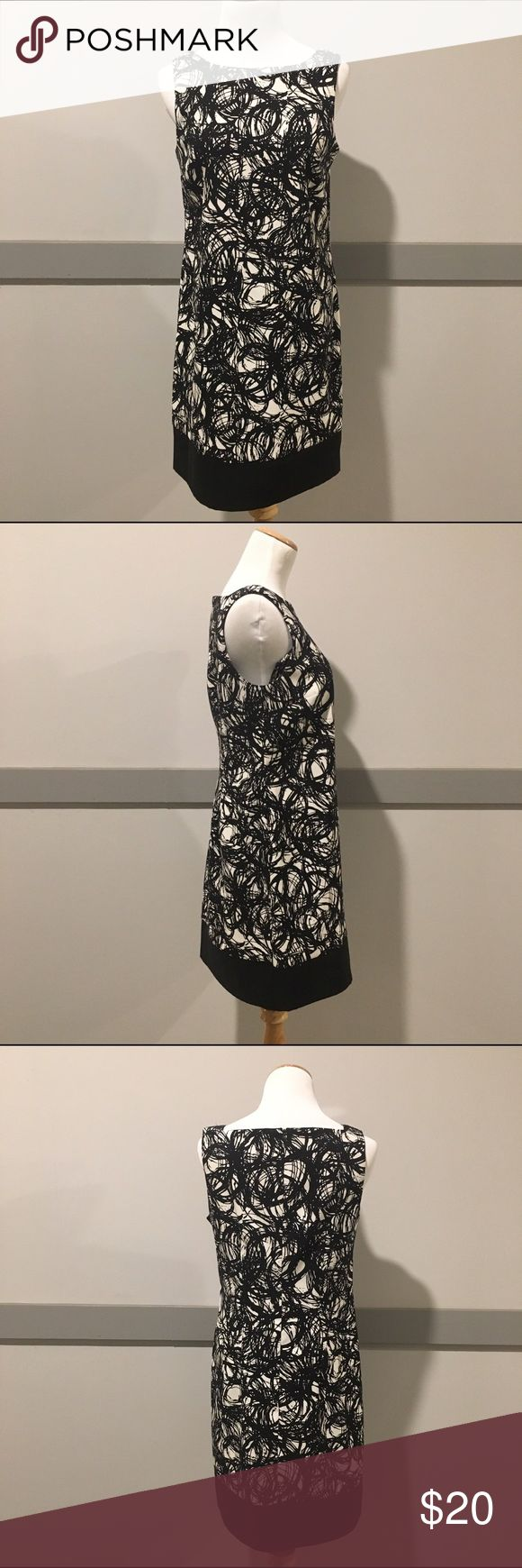 AB Studio Black and White Shift Dress AB Studio Black and White Shift Dress. Perfect, like-new condition. Size 8. Zip up back. 97% polyester and 3% spandex. Machine washable. AB Studio Dresses Midi