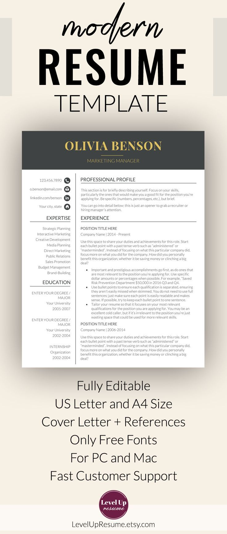 "Professional Resume Template for Microsoft Word ""Olivia Benson"". Minimalist Resume Template + Cover Letter + References. Follow the link for the show all resume templates =>>> #job #career #resume #JobSearch #resumetemplate #ResumeDesign #resumetips"