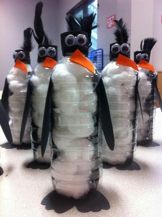 Water bottle penguin. Cute idea