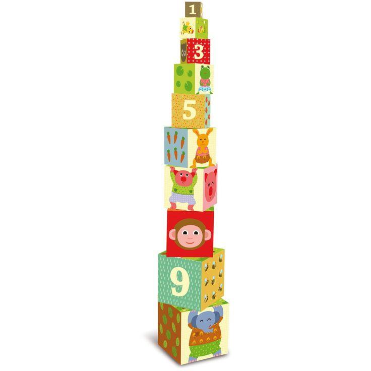 10 cutii din carton, ce intra una in alta si se pot transforma intr-o piramida amuzanta.   Pe cele 4 fete laterale sunt reprezentate animale, culori, cifre, fructe si legume.  Pe orizontala se poate compune o poveste.  Varsta- intre 1 si 3 ani    Dimensiune- 15 x 15 x 15 cm