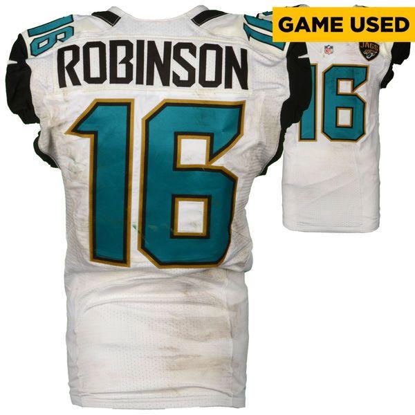 This Jacksonville Denard Robinson Jacksonville Jaguars Fanatics Authentic  Game-Used 16 White Jersey Vs Green Bay ... e44dc3509