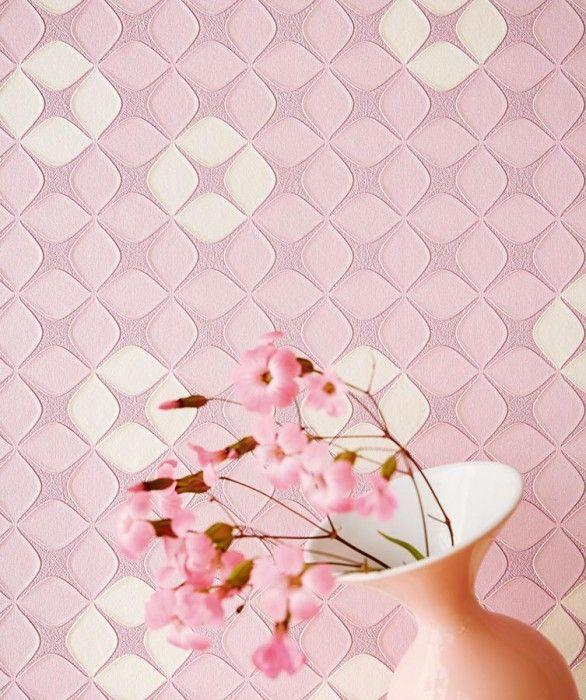 €66,90 Precio por rollo (por m2 €12,62), Papel pintado geométrico, Material base: Papel pintado TNT, Superficie: Efecto de alivio táctil, Vinilo, Aspecto: Brillante, Diseño: Ornamentos pequeños, Flores estilizadas, Color base: Rosa claro pastel, Color del patrón: Blanco crema, Rosa claro pastel, Características: Buena resistencia a la luz, Súper-resistente al lavado, Difícilmente inflamable, Fácil de desprender en seco, Encolar la pared