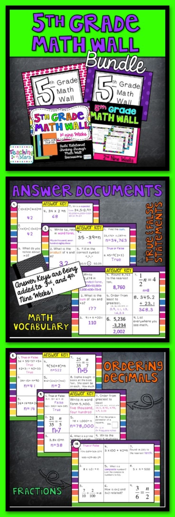 5th Grade Math Wall Bundle is packet of 4 nine weeks of a daily short math skills. The equations and true/false statements help build relational thinking. Decimals, fractions, and true and false statements are integrated throughout each nine weeks. Mode, medium, mean, and range are also covered. Class discussions and students modeling how they solved their problems will help build a strong mathematical foundation for algebra.