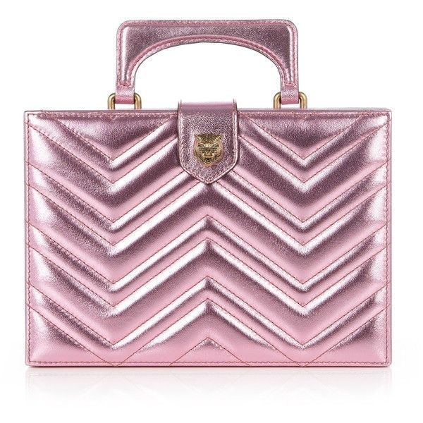 Gucci Broadway metallic-leather clutch ($2,390) ❤ liked on Polyvore featuring bags, handbags, clutches, light pink, metallic handbags, quilted purses, metallic leather handbags, leather purses and leather handbags