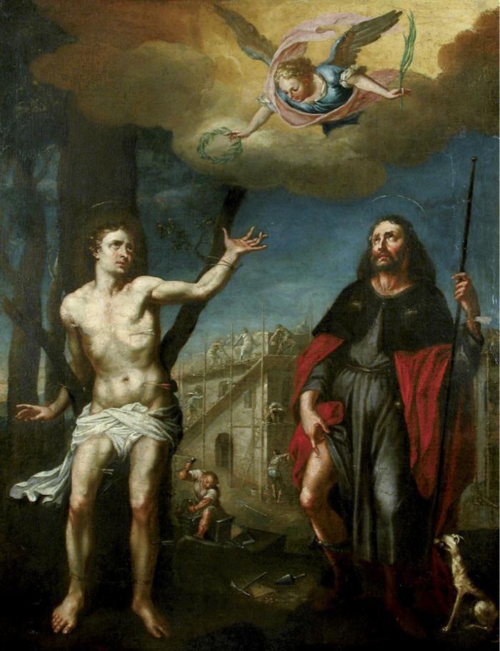 Anonyme, San Sebastiano e san Rocco, olio su tela, cm 111 × 86,  Budapest, Ungheria, Museo Semmelweis di storia della medicina.