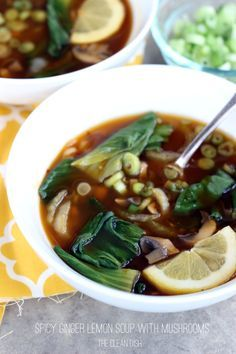 Spicy Ginger Lemon Soup with Mushrooms (vegan, Grain-Free, Gluten-Free)