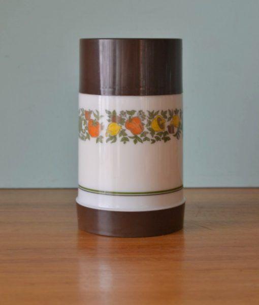 Vintage cream & Brown plastic Aladdin thermos soup