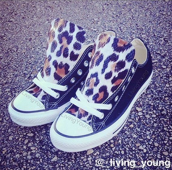 Leopard Print Converse Custom Converse Black by LivingYoungDesigns, $85.00 Hailey Cothern Designed