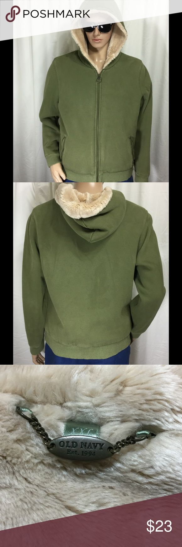 """OLD NAVY faux fur/Sherpa lined hoodie sweatshirt Clean . No issues . View HD pics for details . Pit-pit 23"""" . Neck-tail 25"""" . Neck-CUFF 29.5"""" . green with beige fur interior . Women's XXL Old Navy Tops Sweatshirts & Hoodies"""