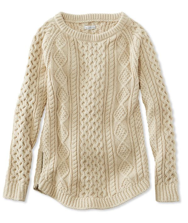 L.L. Bean Signature Cotton Fisherman Tunic Sweater. love the cables and the zipper on the side.