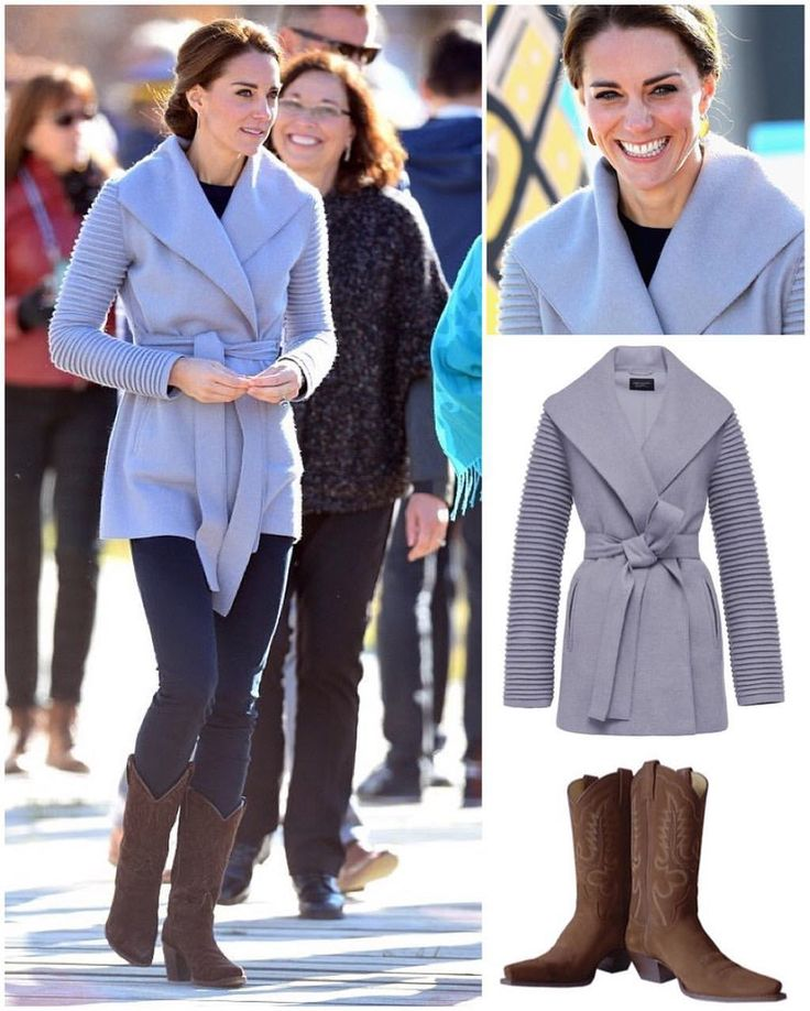 Whitehorse, Yukon, September 28th, 2016: Catherine showed up to the second engagement of the day in a comfy-looking gray wrap coat with ribbed sleeves from Canadian designer, @sentaler.  A pair of blue skinnies and a navy sweater underneath, with her @rsolesboots 'Vegas Setter' boots that have been with her since the first Canada tour in 2011.  A pair of simple, custom Shelley MacDonald earrings topped of the second casual look of the tour so far.  #KateMiddleton #DuchessOfCambridge