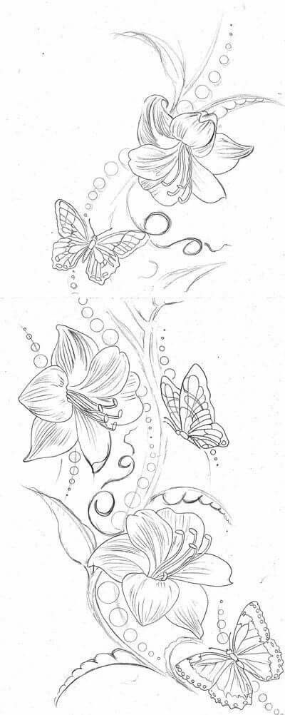 Beautiful black and white image floral tattoo