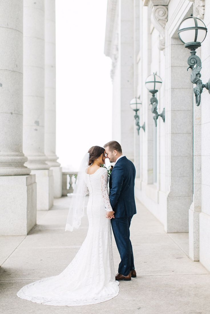 modest wedding dress with long sleeves from alta moda bridal (modest bridal gowns) photo by kenzie victory