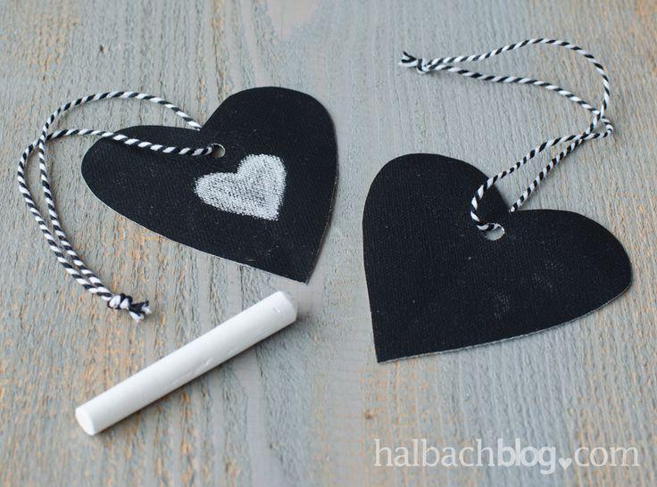 halbachblog I DIY-Ideen mit Tafelstoff I Hangtags Herzen I Chalkboard I Craft I Bäckergarn I Bakers twine