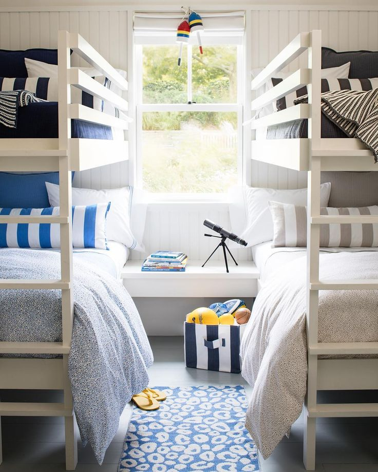 Even in calming colorways, kids' rooms always seem fun! Loving these bunkbeds decked in Pine Cone Hill's Classic Color Coordinates!
