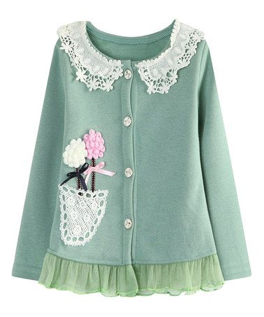 Love this Green Lace Flower Cardigan - Toddler & Girls on #zulily! #zulilyfinds