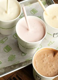 Hand-spun shakes: vanilla, chocolate, caramel, black & white, strawberry, or peanut butter.