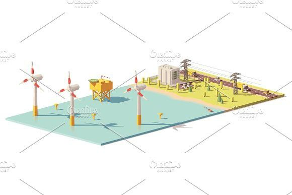 Vector low poly wind turbines power plant #vector #windturbine | Map ...