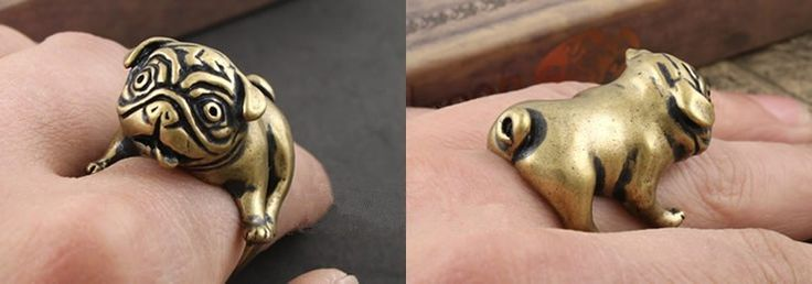 Pug adjustable copper ring and all proceeds benefit the pugs in rescue at Pug Rescue Network