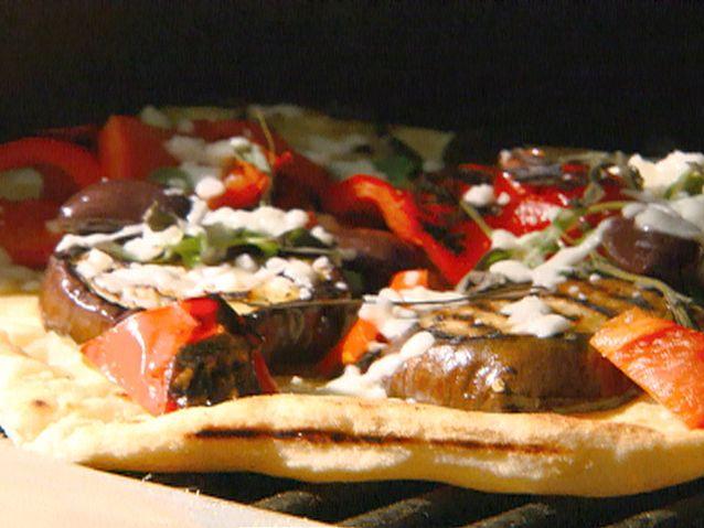 Grilled Eggplant Pizza recipe from Michael Chiarello via Food Network