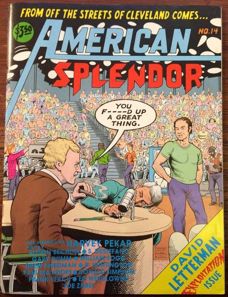 Selling my entire comix collection! AMERICAN SPLENDOR #14 1989 VF HARVEY PEKAR DAVID LETTERMAN EXPLOITATION ISSUE