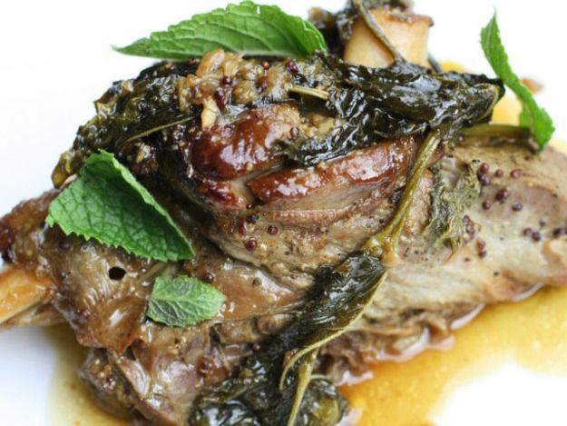 Lamb shanks braised in a meaty gravy of wine, stock, grain mustard, and fresh mint become deeply savory and substantive, yet also fresh and different.
