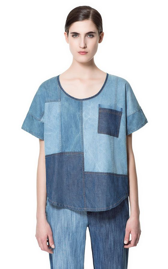 Love this denim patchwork shirt by Zara