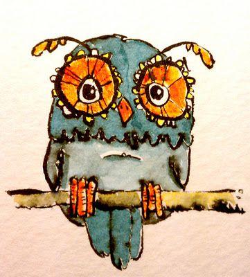 Little OWL on twig- art, illustration