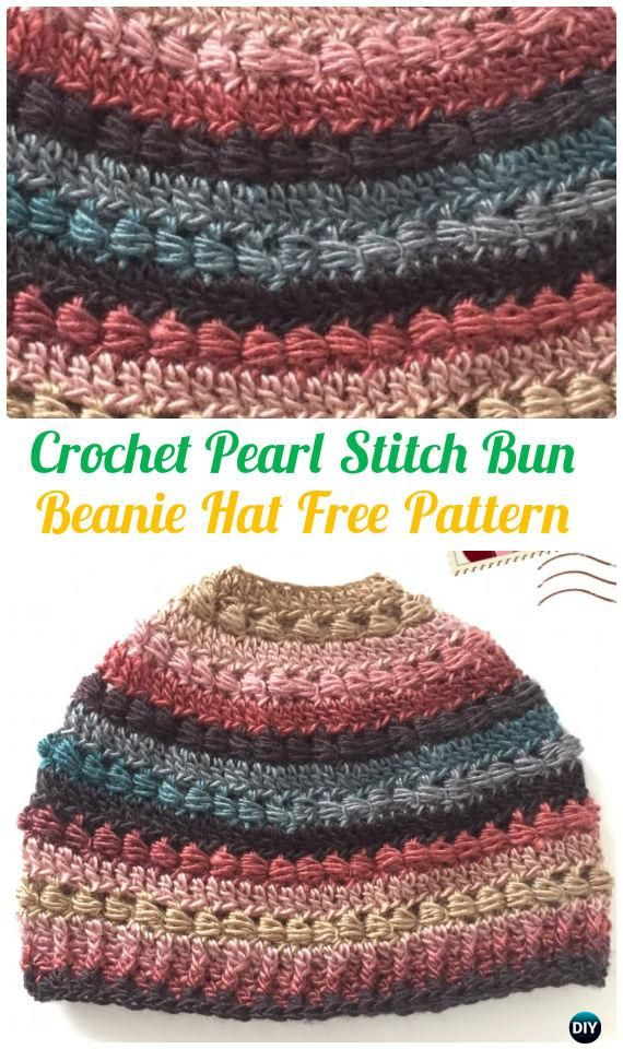 Crochet Pearl Stitch Bun Beanie Hat Free Pattern - #Crochet Ponytail Messy Bun Hat Free Patterns