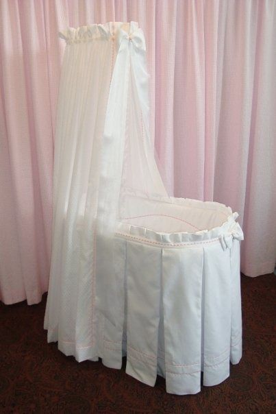 formal and romantic: box pleated bassinet with canopy awning