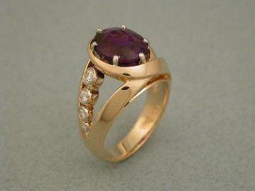 Amethyst Ring with Diamonds.