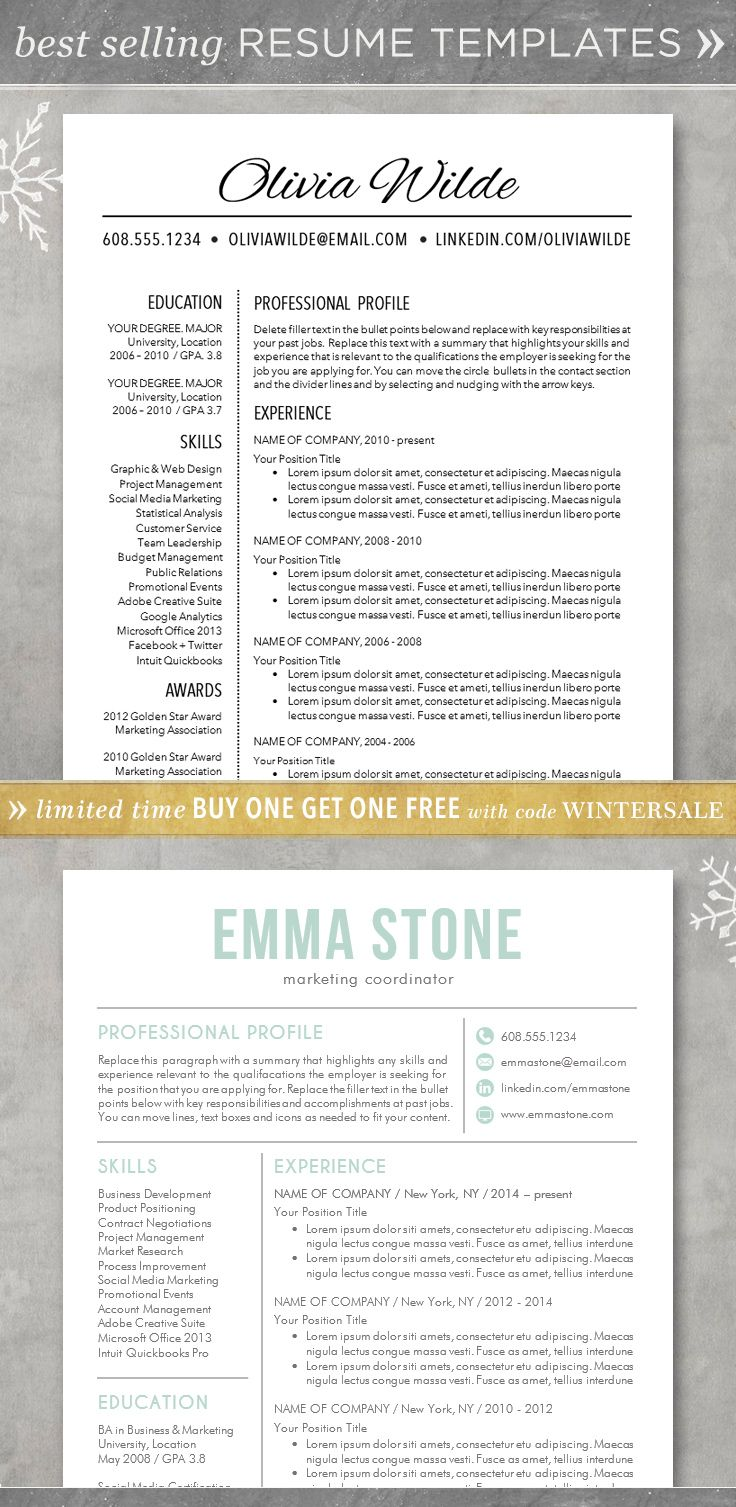 professional resume format resume template cv template for word professional and unique the olivia the emma - Professional Resume Formats
