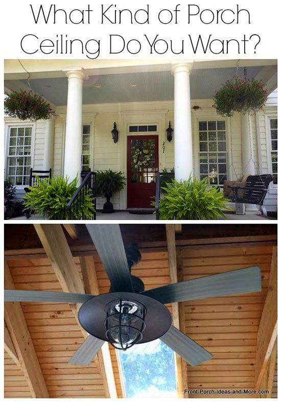 Don't overlook what you can do with your porch ceiling! From a haint blue porch ceiling to tongue and groove. Get ideas here: http://www.front-porch-ideas-and-more.com/porch-ceiling.html