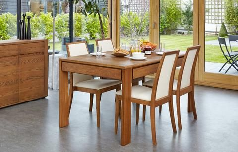 Olten Extending Dining Table with drawer in Oak Finish four leg