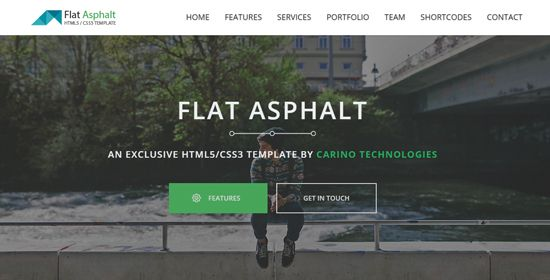 Flat Asphalt is a free HTML5 website template that includes a shortcodes section and a functional contact page.