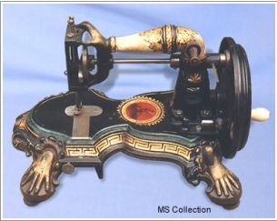 Antique sewing machine ~ In 1846 Elias Howe was the first inventor of the modern sewing machine - two thread sources, and a needle with the eye in the point of the needle. He struggled to protect his patent, because other inventors were coming up with their own ideas for sewing machines.