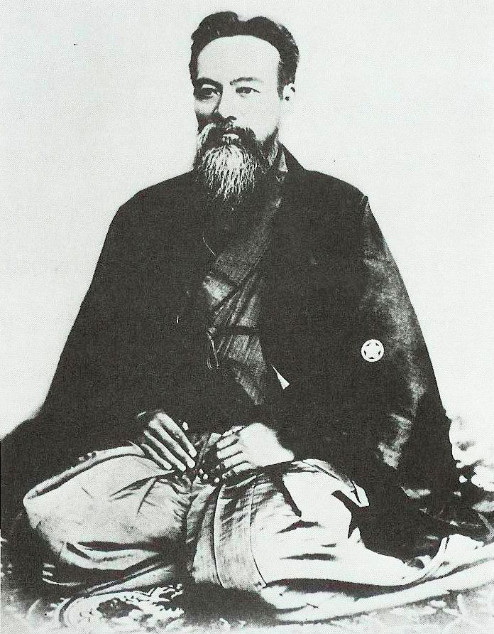 Yamaoka Tesshū 1836-1888, aka (Ono Tetsutarō, or Yamaoka Tetsutarō), a famous samurai of the Bakumatsu period, who played an important role in the Meiji Restoration. He is also noted as the founder of the Itto Shoden Muto-ryu school of swordsmanship, which in time gave birth to the modern Japanese style of swordsmanship or Kendo.