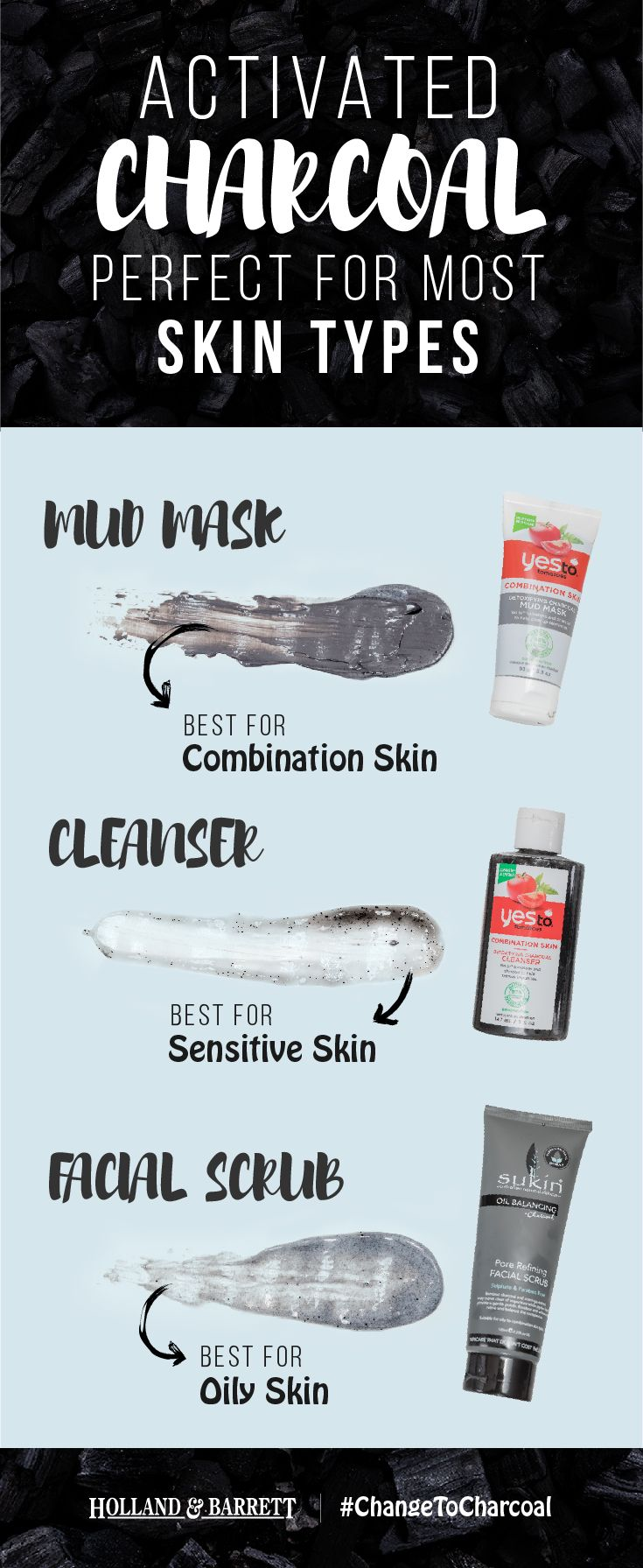 From sensitive skin, to combination skin, to normal skin; activated charcoal is the perfect match   With something for every step of your skin cleansing regime, it really is time to #ChangeToCharcoal
