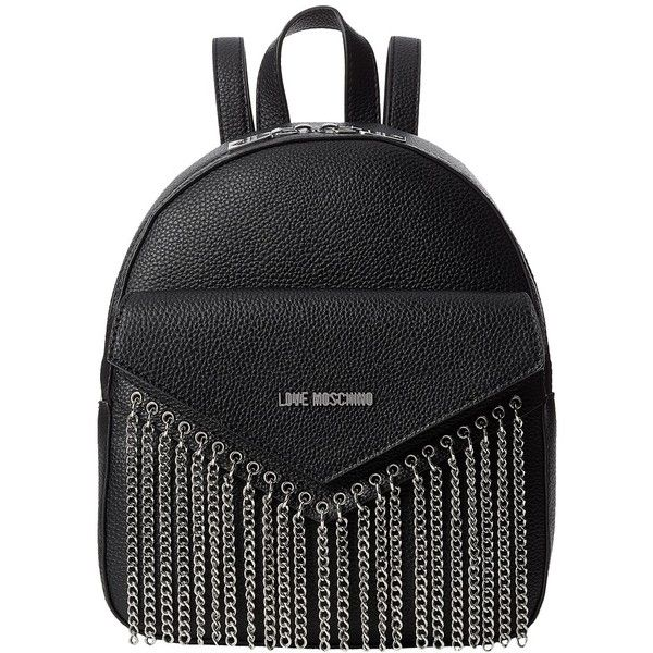 LOVE Moschino Backpack Metal Chains (Black) Backpack Bags ($275) ❤ liked on Polyvore featuring bags, backpacks, chain handle bag, day pack backpack, pocket bag, chain bag and love moschino backpack