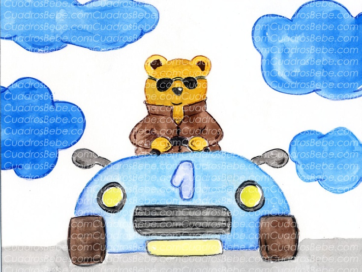 Cuadro bebe dibujos infantiles con un oso conduciendo un coche de carreras de juguete vestido con chaqueta de cuero y gafas, dibujado a mano con pintura y acuarela, para la habitación o cuarto de los más pequeños de la casa, logrando una decoración infantil ideal sobretodo para las niños y pudiendo poner el nombre del niño en una nube si se desea o en la matrícula.